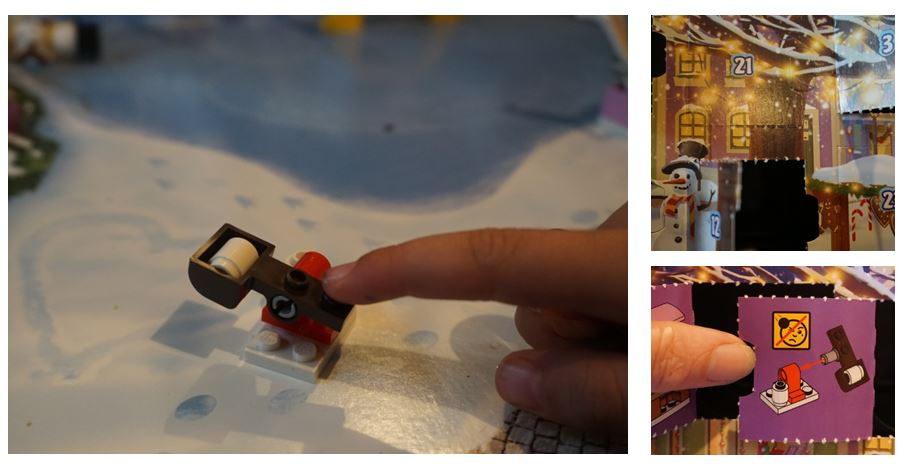 Snowball catapult and warning from lego Friends advent calendar