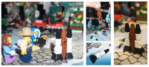 Collage of Lego City rockets and people