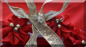 Ribbon glued onto wreath to form a bow