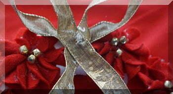 Ribbon glued onto wreath to form a bow