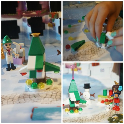 Collage of Lego Friends Christmas Tree