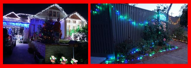 front yards and fences with Christmas lights