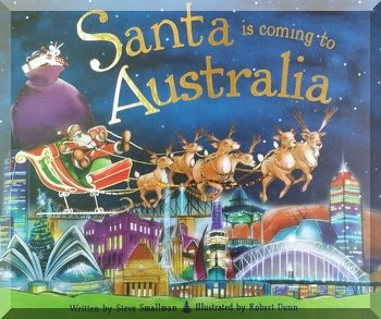 front cover of book 'Santa is coming to Australia' showing reindeer pulling Santa in his sleigh