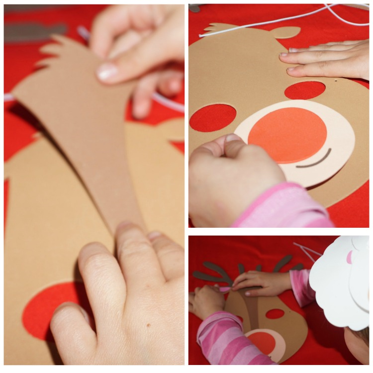 COllage of images of a child making a foam reindeer mask