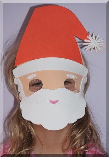 Foam Santa mask over a girl's face