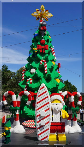 Lego Santa, surfboard and Christmas tree in Melbourne