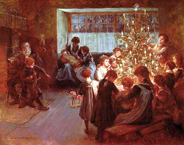 1911 painting of a family around the Christmas tree