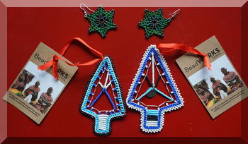 Christmas trees and star earrings made from small beads