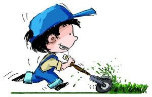 cartoon boy owing grass