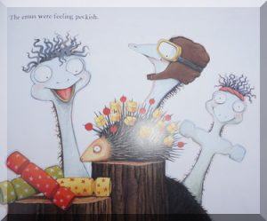 "inside pages of ""Emily's Bush Crhistmas"", showing emus and an echidna food holder!"
