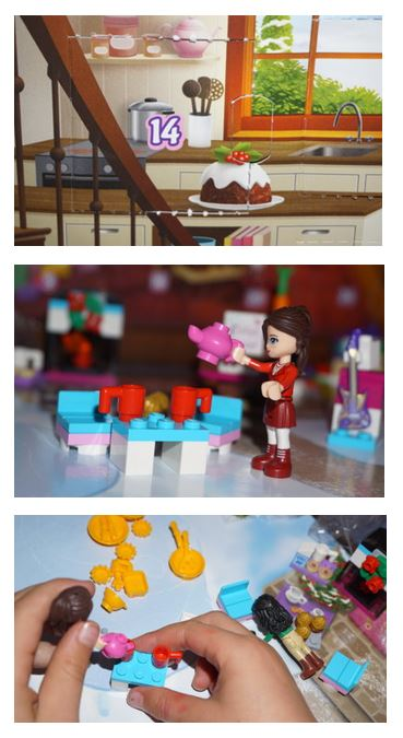 Collage of day 14 Lego Friedns advent calendar
