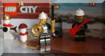 Lego fire fighter with a trumpet