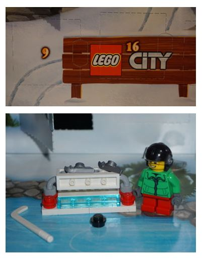 Lego ice-hockey player next to a tand on the ice