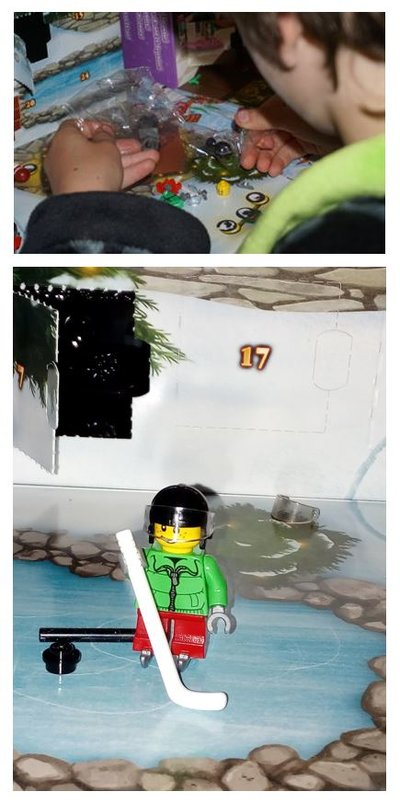 Lego ice-hockey player in front of advent calendar