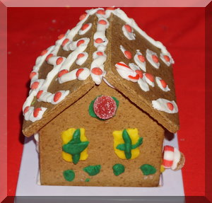 back wall of the decorated gingerbread house