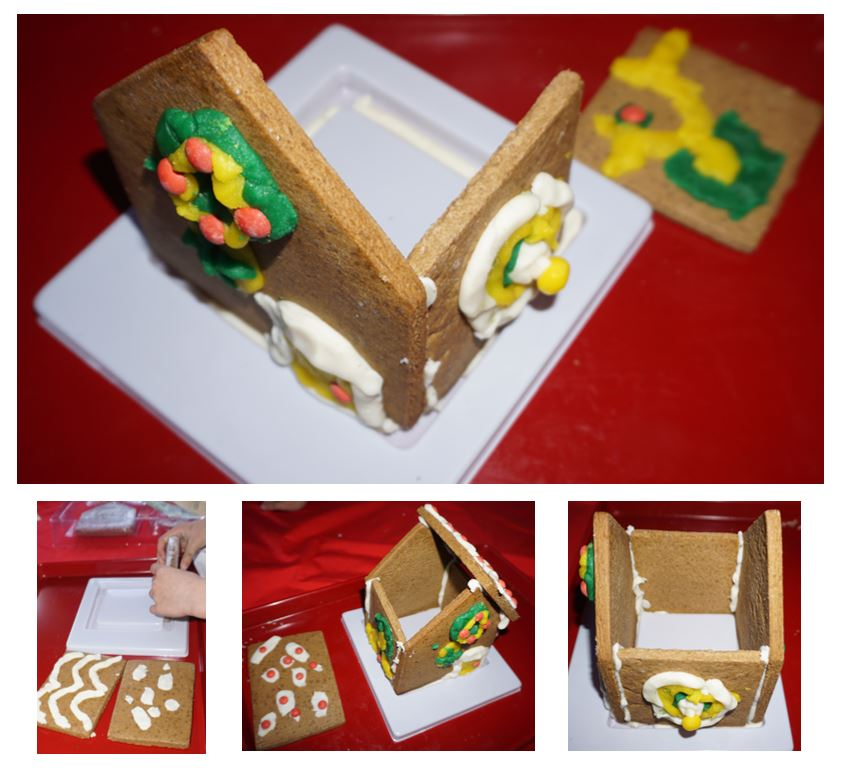 Collage os photos showing stages of the gingerbread house being put together