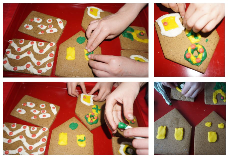 Collage of images where children's hands are putting icing onto the gingerbread pieces