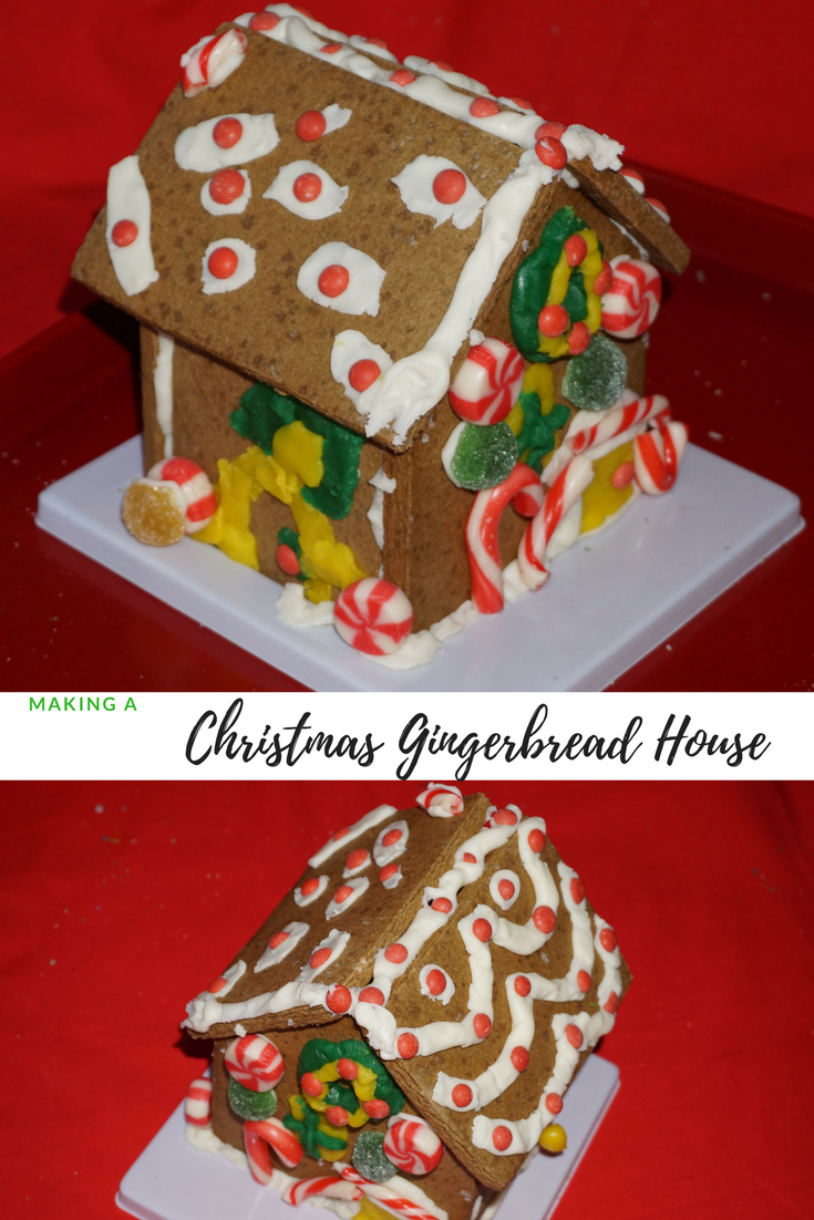 images of the completed Christmas gingerbread house