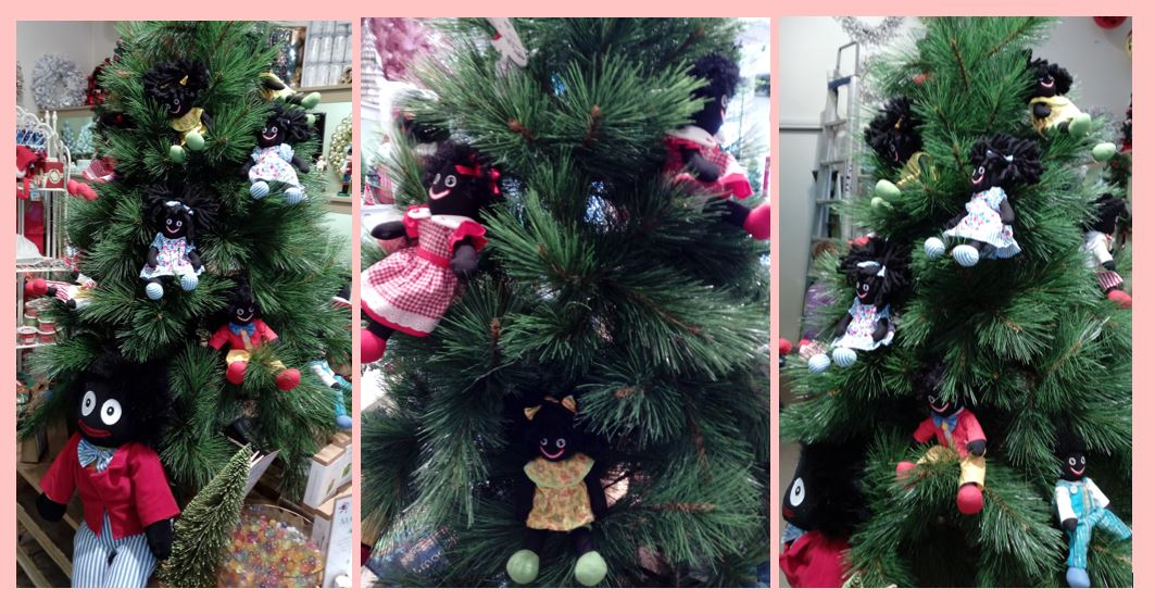 A Christmas tree decorated with golliwogs in 2017