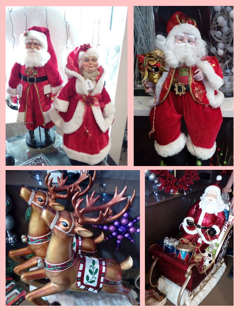 Santa, Mrs Claus and reindeer photos in a collage