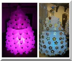 Two Christmas trees made of milk bottles!