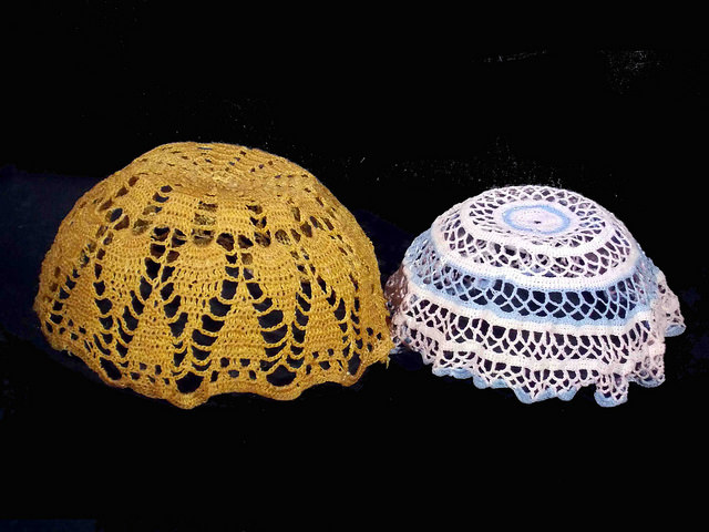 Two bowls made form lace doilys and glue