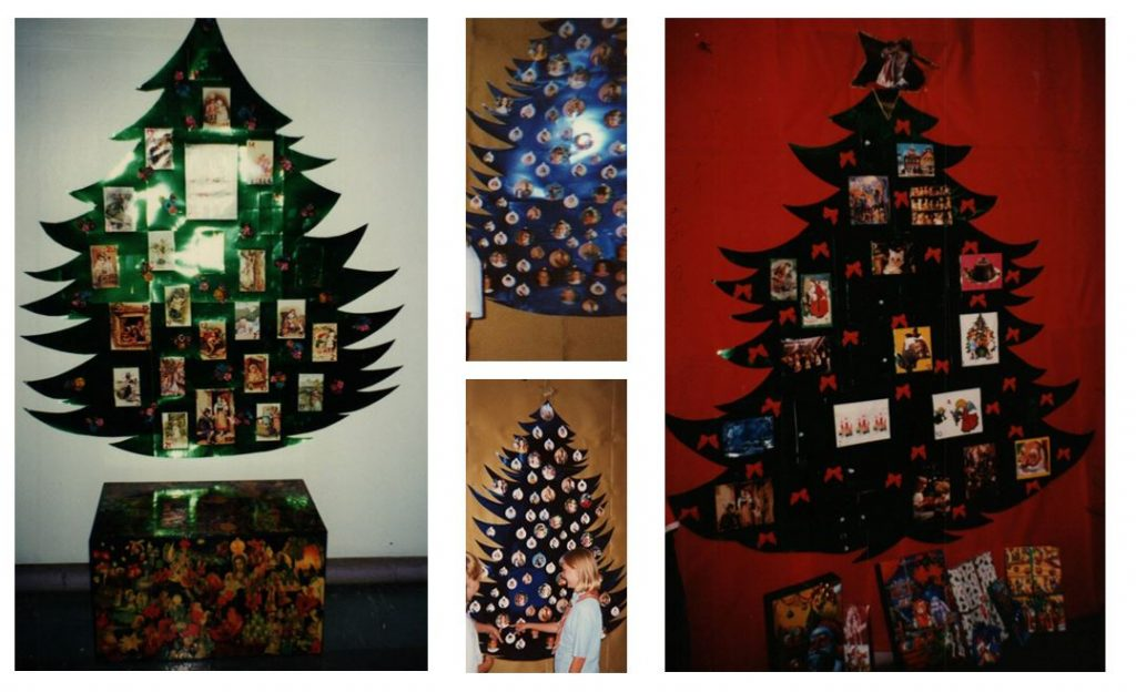 collage of cardboard Christmas trees made by guides