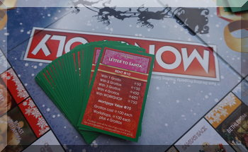 Property cards showing 'Letters to Santa' in Christmas Monopoly