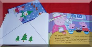 post coming out of an envelope in teh book Peppa's Christmas Post