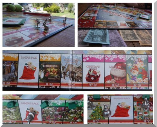 Collage of the Christmas Monopoly game