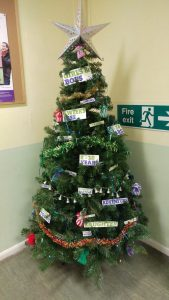 A Christmas tree of messages in a sea scout hall