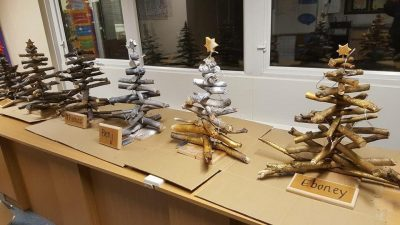 Christmas trees made out of sticks