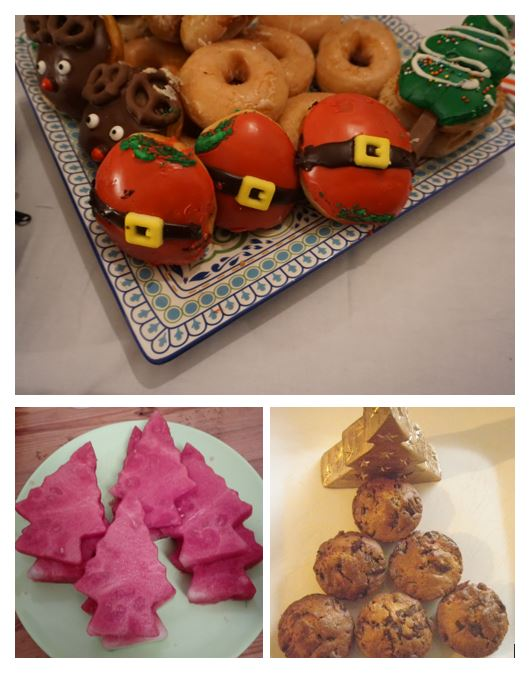 CHristmas doughnuts, Christmas tree watermelon and muffins beside a Christmas candle