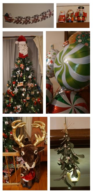 Array of CHirstmas decorations, including mistletoe and a Christmas tree