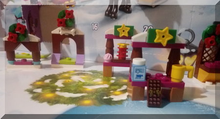 Lego hot chocolate stall, complete with milk bottle