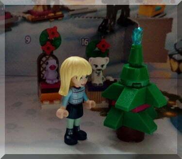 Lego Friends Christmas tree beside Stephanie