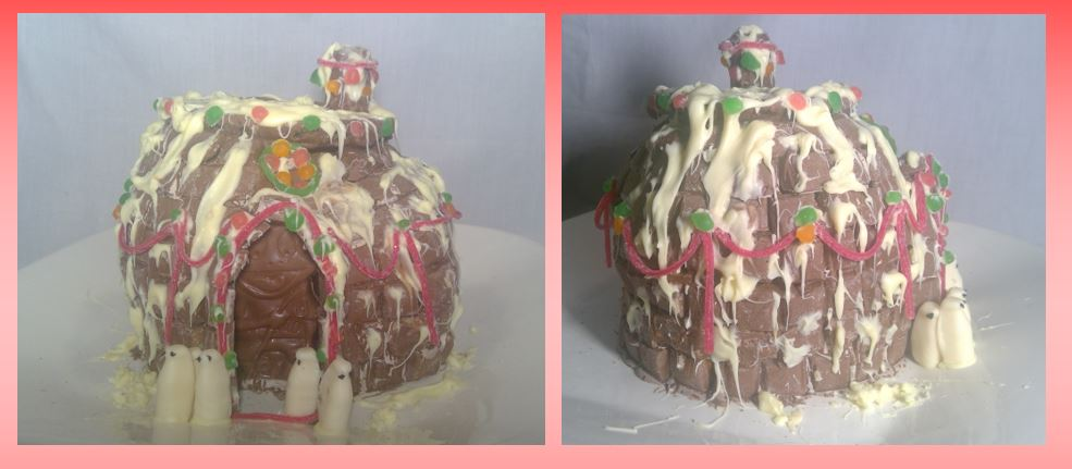 two views of a chocolate igloo