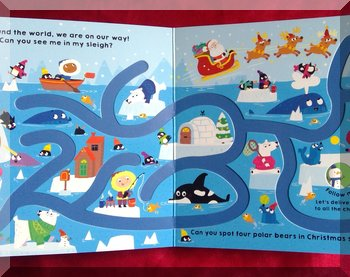 Inner pages of Follow me Santa showing the ocean