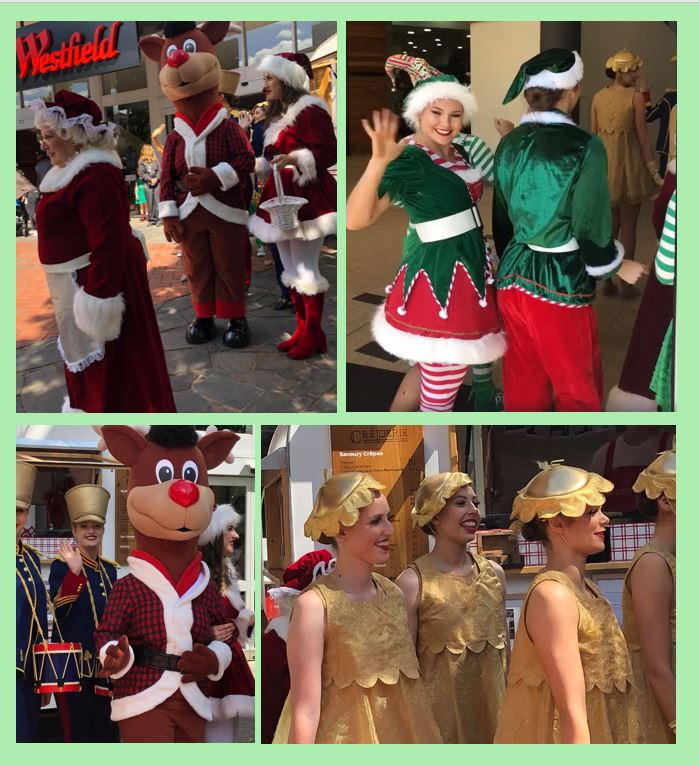 Collage of elves, rudolph, bells and Mrs Claus at the Know 2018 Christmas parade