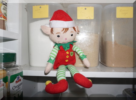 Tinkles the elf sitting on a pantry shelf