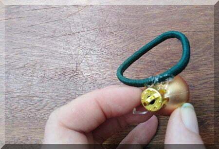 Christmas bauble glued to a hair elastic