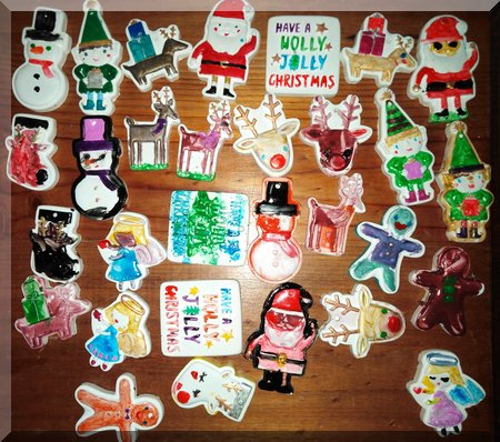 painted Christmas ornaments on display