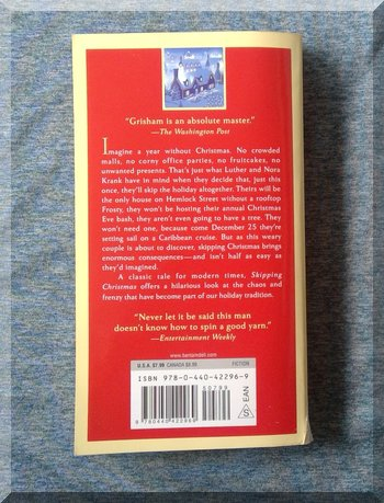 Back cover of book Skipping Christmas