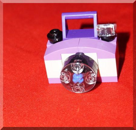 Lego purple and white camera ornament