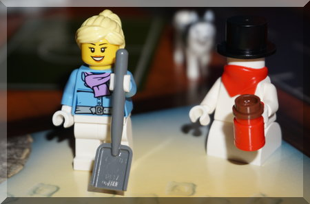 Lego woman with shovel
