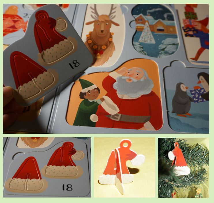 collage of Santa's hat ornament pictures