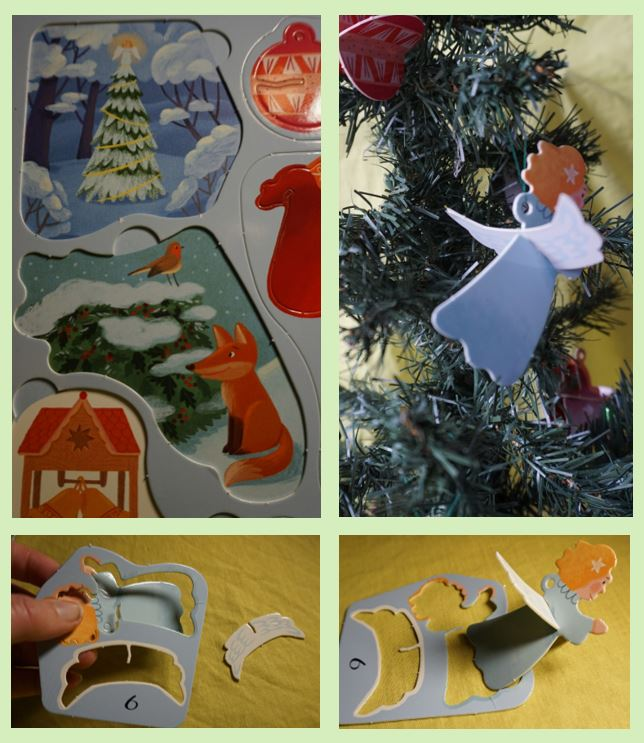 collage of angel press out decoration from advent calendar