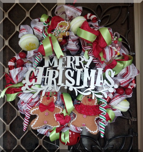 Christmas wreath with food themed attachments