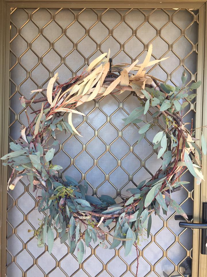 Christmas wreath made from gum leaves and sticks