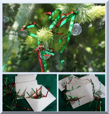 Finished glass baubles, haning on a bush or placed in Christmas card envelopes